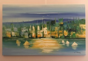 Sailing by the city Abstract Realism