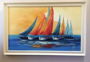 Sailboats at Sunrise (Abstract Realism)