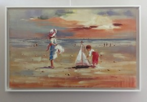 Children on a Summer Beach with Toy Sailing Boat